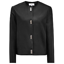 Buy Reiss Hart Leather Jacket, Black Online at johnlewis.com