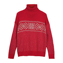 Buy Fat Face Snowflake Jumper, Rose Red Online at johnlewis.com