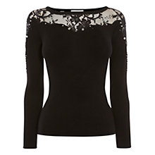 Buy Coast Luna Embellished Knit Top, Black Online at johnlewis.com