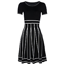 Buy Yanny London Fit and Flare Contrast Stitch Dress, Black/White Online at johnlewis.com