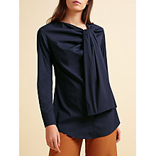 Buy Modern Rarity palmer//harding Side Tie Neck Shirt, Navy Online at johnlewis.com