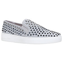 Buy MICHAEL Michael Kors Keaton Studded Slip On Trainers, Light Grey Online at johnlewis.com