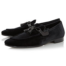 Buy Dune Rescuer Tassel Velvet Loafers, Black Online at johnlewis.com