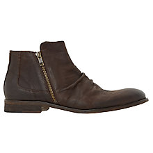 Buy Dune Cinder Double Zip Leather Boots, Brown Online at johnlewis.com