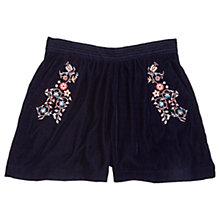 Buy Jigsaw Girls' Embroidered Velvet Culottes, Navy Online at johnlewis.com