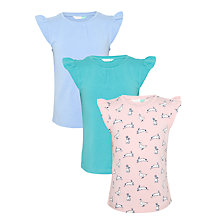 Buy John Lewis Girls' Rabbit Print and Plain Frill Sleeve T-Shirts, Pack of 3, Multi Online at johnlewis.com
