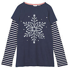 Buy Fat Face Girls' Long Sleeve Snowflake Tunic Top, Navy Online at johnlewis.com