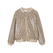 Buy Mango Kids Girls' Sequin Bomber Jacket, Gold Online at johnlewis.com