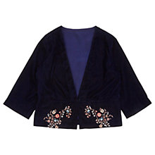 Buy Jigsaw Girls' Embroidered Velvet Jacket, Navy Online at johnlewis.com