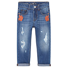 Buy Mango Kids Girls' Embroidered Boyfriend Fit Jeans, Medium Blue Online at johnlewis.com