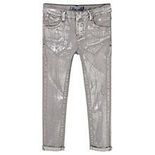 Buy Mango Kids Metallic Effect Slim Fit Jeans, Silver Denim Online at johnlewis.com
