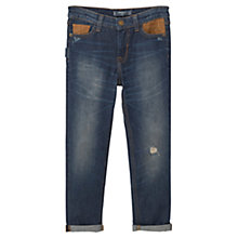 Buy Mango Kids Boys' Regular Fit Contrast Panel Jeans, Medium Blue Denim Online at johnlewis.com