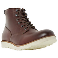 Buy Dune Conrad Wedge Sole Lace-Up Leather Boots, Burgundy Online at johnlewis.com