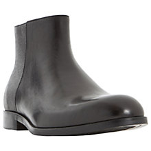 Buy Dune Malik Mixed Texture Zip-Up Leather Boots, Black Online at johnlewis.com