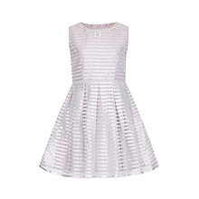 Buy Yumi Girl Sparkle Stripe Organza Dress, Light Grey Online at johnlewis.com