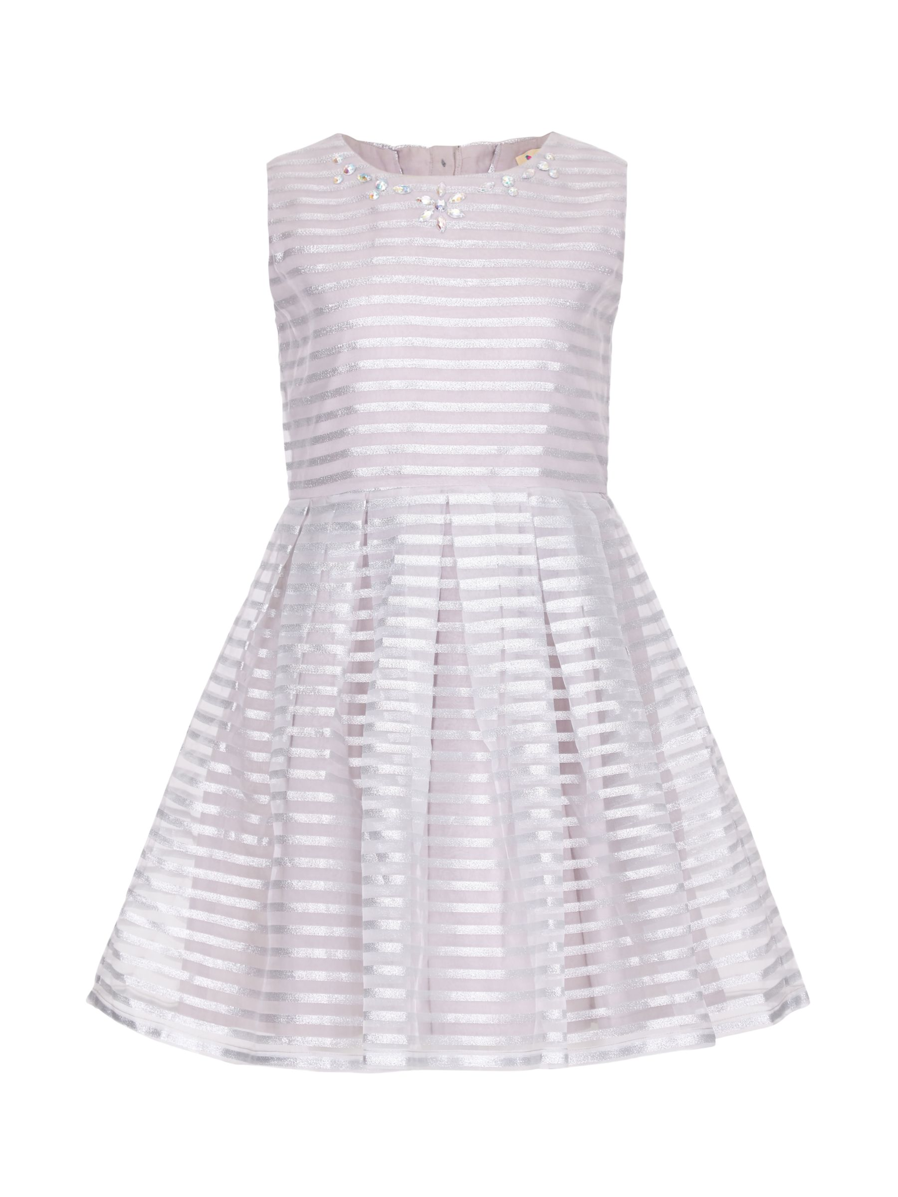 Yumi Yumi Girl Sparkle Stripe Organza Dress, Light Grey