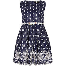 Buy Yumi Girl Spot Print Broderie Dress, Navy Online at johnlewis.com