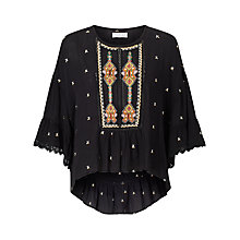 Buy Velvet Alasdair Embroidered Top, Black Online at johnlewis.com