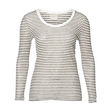 Buy Selected Femme Sila Stripe Top, Snow White/Medium Grey Melange Online at johnlewis.com