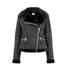Buy Oasis Faux Shearling Jacket, Black Online at johnlewis.com