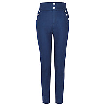 Buy Karen Millen Button Detail Leggings, Dark Denim Online at johnlewis.com