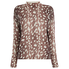Buy Warehouse Deer Print Boxy Jumper, Brown Online at johnlewis.com