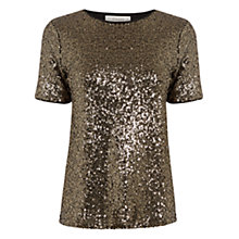 Buy Oasis Sequin T-Shirt, Gold Online at johnlewis.com