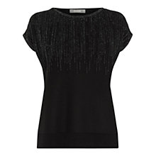 Buy Oasis Ombre Sparkle T-Shirt, Black Online at johnlewis.com