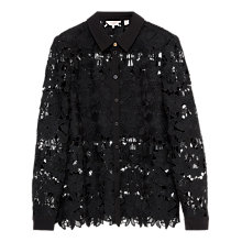 Buy Ted Baker Sydneey Lace Panel Shirt, Black Online at johnlewis.com