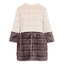 Buy Ted Baker Onyaka Colour Block Faux Fur Coat, Straw Online at johnlewis.com