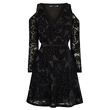 Buy Karen Millen Velvet Devore Mini Dress, Black Online at johnlewis.com