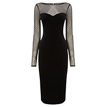 Buy Oasis Velvet Midi Dress, Black Online at johnlewis.com