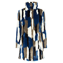 Buy Karen Millen Patchwork Faux Fur Coat, Blue/Multi Online at johnlewis.com