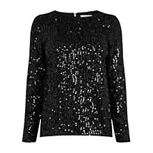 Buy Oasis Sequin Tinsel Top, Black Online at johnlewis.com