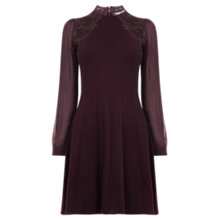 Buy Oasis Lace Swing Dress, Burgundy Online at johnlewis.com