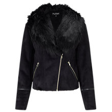 Buy Miss Selfridge Shearling Jacket, Black Online at johnlewis.com