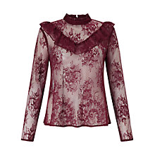 Buy Miss Selfridge Lace Ruffle Blouse, Burgundy Online at johnlewis.com