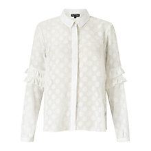 Buy Miss Selfridge Polka Frill Sleeve Blouse, White Online at johnlewis.com