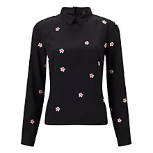 Buy Miss Selfridge Floral Embroidered Blouse, Black Online at johnlewis.com