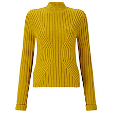 Buy Miss Selfridge Ribbed Transfer Knitted Jumper, Chartreuse Online at johnlewis.com