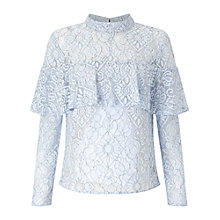 Buy Miss Selfridge Lace Frill Blouse, Blue Online at johnlewis.com