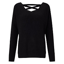 Buy Miss Selfridge Lattice Jumper, Black Online at johnlewis.com