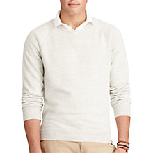 Buy Polo Ralph Lauren Cotton Crew Neck Knitted Sweatshirt, Dove Grey Heather Online at johnlewis.com