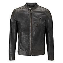 Buy Belstaff Sandway Leather Blouson, Vintage Black Online at johnlewis.com