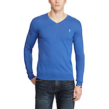 Buy Polo Ralph Lauren Slim Fit Cotton-Cashmere V-Neck Jumper, Blue Legacy Online at johnlewis.com
