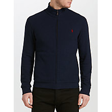 Buy Polo Ralph Lauren Full-Zip Jersey Top, Navy Heather Online at johnlewis.com