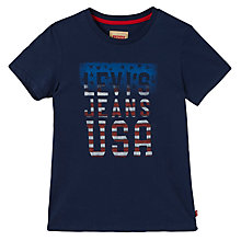 Buy Levi's Boys' Antoine USA Print T-Shirt, Navy Online at johnlewis.com