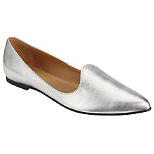 Buy John Lewis Helina Pointed Toe Loafers, Silver Online at johnlewis.com