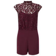 Buy Miss Selfridge Lace 2 in 1 Playsuit, Burgundy Online at johnlewis.com