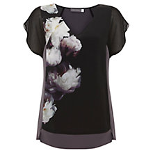 Buy Mint Velvet Luna Print Silk Front T-Shirt, Multi Online at johnlewis.com